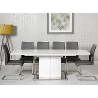 Product photograph showing Prado Extending Dining Set With 6 Grey Franklin Chairs
