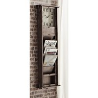 Product photograph showing Prairie Wooden Wall Hung Magazine Rack With Clock In Anthracite