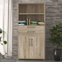 Product photograph showing Prax Tall 2 Doors 2 Drawers Office Storage Cabinet In Oak