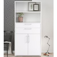 Product photograph showing Prax Tall 2 Doors 2 Drawers Office Storage Cabinet In White