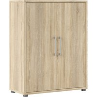 Product photograph showing Prax 2 Doors 2 Shelves Office Storage Cabinet In Oak