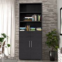 Product photograph showing Prax 2 Doors 5 Shelves Office Storage Cabinet In Black