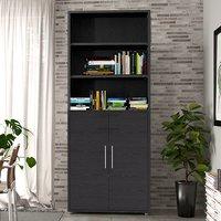 Prax 2 Doors 5 Shelves Office Storage Cabinet In Black