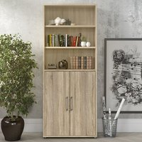 Product photograph showing Prax 2 Doors 5 Shelves Office Storage Cabinet In Oak