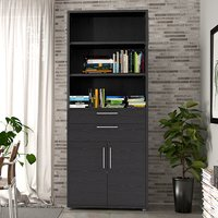 Product photograph showing Prax Tall 2 Drawers 2 Doors Office Storage Cabinet In Black