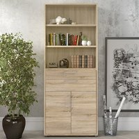 Product photograph showing Prax Tall 2 Drawers 2 Doors Office Storage Cabinet In Oak