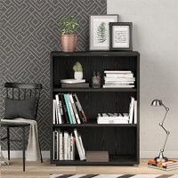 Product photograph showing Prax 2 Shelves Open Home And Office Bookcase In Black