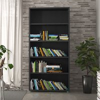 Product photograph showing Prax 4 Shelves Open Home And Office Bookcase In Black