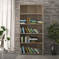 Product photograph showing Prax 4 Shelves Open Home And Office Bookcase In Oak