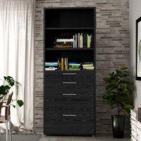 Prax 5 Shelves 2 Drawers Office Storage Cabinet In Black