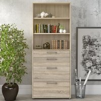 Product photograph showing Prax 5 Shelves 2 Drawers Office Storage Cabinet In Oak