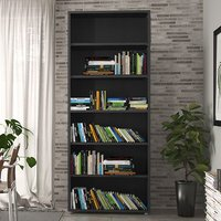 Product photograph showing Prax 5 Shelves Home And Office Bookcase In Black