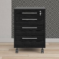 Product photograph showing Prax Mobile Office Pedestal In Black With 4 Drawers