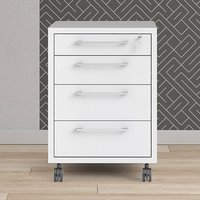 Product photograph showing Prax Mobile Office Pedestal In White With 4 Drawers
