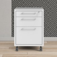 Product photograph showing Prax Mobile Office Pedestal Drawers In White