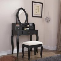 Product photograph showing Prestige Contemporary Dressing Table Set In Black