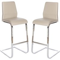Product photograph showing Prestina Bar Stool In Taupe Pu With Chrome Legs In A Pair