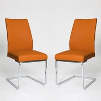 Product photograph showing Prestina Dining Chair In Orange Pu With Chrome Legs In A Pair