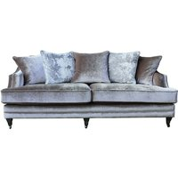 Product photograph showing Preston 4 Seater Sofa In Champagne Velvet With Dark Wooden Legs