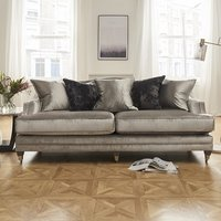 Product photograph showing Preston 4 Seater Sofa In Pewter Velvet With Dark Wooden Legs