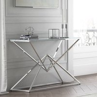 Product photograph showing Prism Glass Console Table With Polished Stainless Steel Base