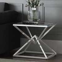 Product photograph showing Prism Glass Side Table With Polished Stainless Steel Base