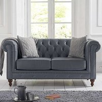 Propus Leather 2 Seater Sofa In Grey