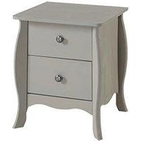 Provence Bedside Cabinet In Grey Washed Wax With 2 Drawers