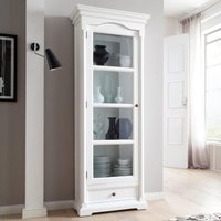 Product photograph showing Proviko Glass Door Wooden Display Cabinet In Classic White