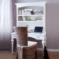 Product photograph showing Proviko Secretary Computer Desk With Hutch In Classic White
