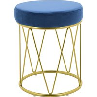 Product photograph showing Puffy Velvet Stool In Blue With Gold Stainless Steel Base