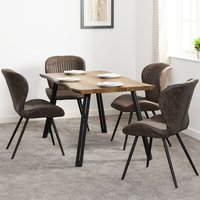 Product photograph showing Quebec Wooden Wave Edge Dining Set With 4 Leather Dining Chairs