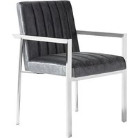 Product photograph showing Quentin Accent Chair In Charcoal Velvet And Stainless Steel