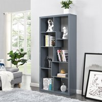 Product photograph showing Quinto Modern High Gloss Shelving Unit In Grey