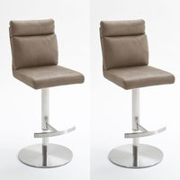 Rabea Sand Fabric Bar Stool With Stainless Steel Base In Pair