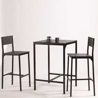Radius Modern Bistro Table Set In Black With 2 Chairs