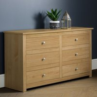 Radley Wide Wooden Chest Of Drawers In Waxed Pine With 6 Drawers