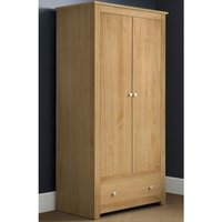Product photograph showing Radley Wooden Wardrobe In Waxed Pine With 2 Doors And 1 Drawer
