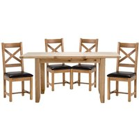 Ramore Extending Dining Set In Natural With 4 Cross Back