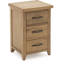 Ramore Wooden Bedside Table In Natural With 3 Drawers