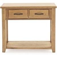 Product photograph showing Ramore Wooden Console Table In Natural With 2 Drawers