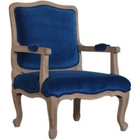 Product photograph showing Rarer Velvet French Style Accent Chair In Blue And Sunbleach