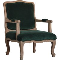 Product photograph showing Rarer Velvet French Style Accent Chair In Green And Sunbleach