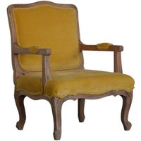 Product photograph showing Rarer Velvet French Style Accent Chair In Mustard And Sunbleach