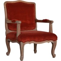 Product photograph showing Rarer Velvet French Style Accent Chair In Rust And Sunbleach