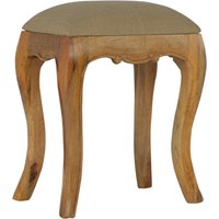 Product photograph showing Rarer Wooden French Style Stool In Oak Ish With Mud Linen Seat