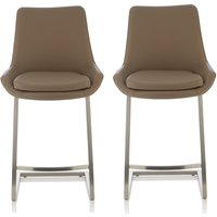 Product photograph showing Rasmus Bar Stool In Taupe Faux Leather In A Pair