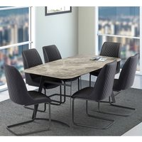 Product photograph showing Ravello Ceramic Top Dining Table In Grey With 6 Ravello Chairs