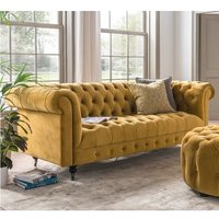 Product photograph showing Reedy Chesterfield Three Seater Sofa In Mustard And Metal Castor