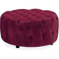 Product photograph showing Reedy Velvet Deep Buttoned Foot Stool In Berry Finish